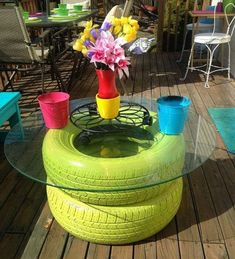 More ideas for old tires! madcapfrenzy's Colorful DIY outdoor deck seating benches makeover with tire table Deck Seating, Backyard Seating, Outdoor Seating, Outdoor Lounge, Backyard Projects, Garden Projects, Diy Projects, Project Ideas, Garden Ideas