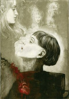 EL MONJE Y LA HIJA DEL VERDUGO - SANTIAGO CARUSO (3) Dark Pictures, Pictures To Draw, Dark Pics, The Hound Of Heaven, Dark Poetry, Southern Gothic, Spiritus, Types Of Art, Dark Art