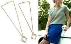The Teardrop and Square Link Pendant Necklace