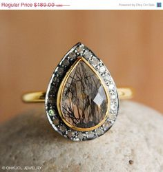 Valentines Day SALE Gold Black Rutilated / Tourmalinated Quartz Ring - Pave Diamonds Ring - Teardrop, Luxury Ring