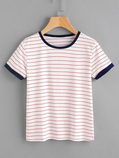 SheIn offers Striped Ringer Tee & more to fit your fashionable needs. SheIn offers Striped Ringer Tee & more to fit your fashionable needs. Outfits Kawaii, Cute Outfits, Geile T-shirts, Latest T Shirt, Ringer Tee, Striped Fabrics, T Shirts For Women, Clothes For Women, Striped Tee