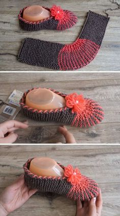 Easy Slippers I wonder if this can be done in crochet? Easy Slippers I wonder if this can be done in crochet? Knitting Kits, Loom Knitting, Knitting Socks, Knitting Patterns Free, Free Knitting, Baby Knitting, Crochet Ideas, Knit Slippers Free Pattern, Mittens