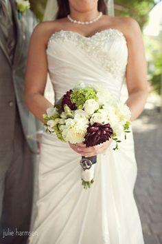 Burgundy Green White Bouquet Summer Vineyard Wedding Flowers Photos & Pictures - WeddingWire.com