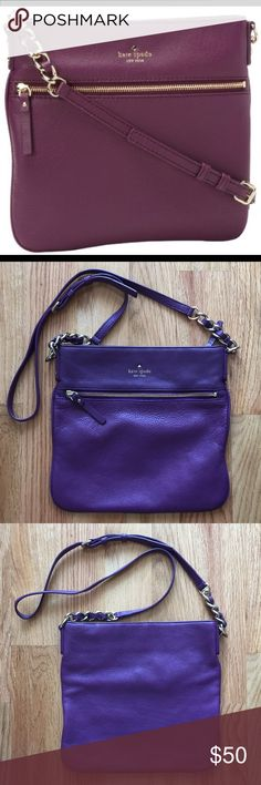 Kate Spate Coble Hill Ellen cross body bag Top zip closure. Adjustable crossbody strap with drop length of approximately 21 inches. Front features exterior zippered pocket. Lined interior features backwall zippered pocket and two frontwall slip pockets. Gold tone hardware details. Logo emblem on front. Plum color - additional photos brighter due to sunshine and my camera! Hate to sell but I have two of these. In great shape, took of a few trips abroad. No trades/PayPal. Make an offer! kate…