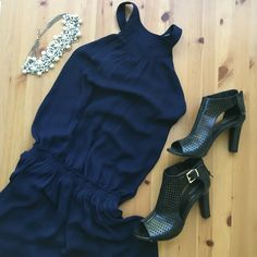 Zara Basic Navy Dress So many cute features in one dress! High neck with two button closure, keyhole on back razor, ruched dropped waistline, fully lined, flowy gauzy navy dress! Perfect to dress up or down! No trades, make an offer, and check out my 25% off two bundle option! Zara Dresses