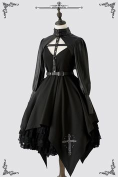 Penny House -The Holy Cross- Gothic Steampunk Lolita Jumper DressYou can find Gothic lolita and more on our website.Penny House -The Holy Cross- Gothic Steampunk Lo. Steampunk Lolita, Gothic Lolita Fashion, Gothic Outfits, Edgy Outfits, Cosplay Outfits, Pretty Outfits, Pretty Dresses, Gothic Lolita Dress, Fashion Goth