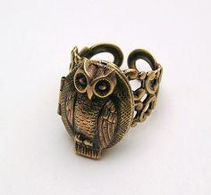 steampunk owl locket ring