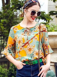 Shop Sweet Silk floral Print Bowknot Flare Sleeve Blouse at EZPOPSY. Cute Blouses, Blouses For Women, Blouse Styles, Blouse Designs, Lace Tops, Floral Tops, Floral Prints, Stylish Tops For Women, Baby Girl Dress Patterns