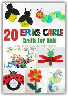 20 Cute and Colorful Eric Carle Crafts for Kids Eric Carle's pictures are how many children the world over are introduced to art. Celebrate this incredible artist with these Eric Carle Crafts for Kids. Kindergarten Crafts, Preschool Crafts, Preschool Books, Classroom Crafts, Arts And Crafts Movement, Crafts For Girls, Kids Crafts, Easy Crafts, Art And Craft Videos