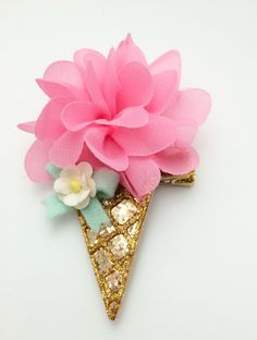 Candy pink glitter ice cream cone hair clip or headband by teaandtoastx on Etsy https://www.etsy.com/listing/192601476/candy-pink-glitter-ice-cream-cone-hair