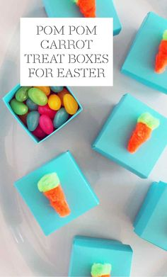 Pom-Pom Carrot Treat Boxes for Easter | Martha Stewart Living - Surprise! A striking collection of candy-filled boxes will draw guests to the Easter dinner table. Start with a set of store-bought boxes, and glue on hand-cut pom-poms as carrot toppers.