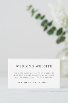 Simple, stylish wedding website enclosure card in a modern minimalist design style with a classic typography and a chic sophisticated feel. The text can easily be personalized with your names, wedding website, scannable QR code and message for a unique one of a kind wedding design to keep your friends and family up to date about your upcoming special day. #theknot #wedding #website #enclosurecard #qrcode Wedding Tips, Wedding Cards, Our Wedding, Dream Wedding, Modern Minimalist, Minimalist Design, Rsvp Online, Elegant Chic, Wedding Website