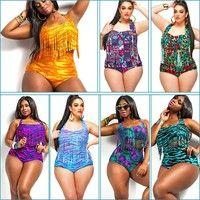 Plus size print fringe high waist swimsuit Tassels bathing suit swimwear push up bikini for women African Print Bathing Suit, Bathing Suits, Plus Size Bikini, Plus Size Swimsuits, Bikini Push Up, Bikini Swimsuit, Bikini For Women, Full Figured Women, Plus Size Fashion