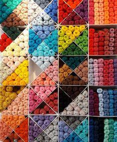 Winkelen in Utrecht, wolwinkel Sticks & Cups Yarn Storage, Craft Room Storage, Yarn Display, Knitting Room, Sewing Room Design, Yarn Organization, Yarn Stash, Knitting Supplies, Yarn Shop