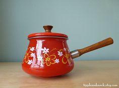 Red Vintage Floral Enamelware Sauce Pan by tippleandsnack on Etsy, $34.50