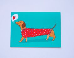love heart sausage dog card valentines day - Dog Valentines Day Cards