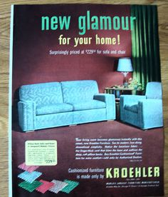 kroehler furniture ad jacquard mohair frieze ebay - Kroehler Furniture