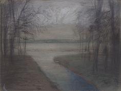 """Mykolé, """"Winterscape 3"""", 2012, 24 x 32 cm, Pastels, ink, paper. Contemporary landscape paintings."""