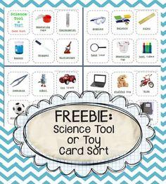 """""""Science Tool or Toy?"""" Card Sort (free; from Kindergarten Kindergarten)"""