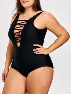 2a918a96d50 Wholesale Lattice Front Plus Size One Piece Swimsuit - Black Solid Wire Free