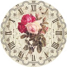 Vintage Clock Face and Roses Background Decoupage Vintage, Decoupage Paper, Vintage Ephemera, Vintage Paper, Vintage Art, Vintage Clocks, Vintage Roses, Clock Art, Diy Clock