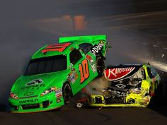 Danica Patrick (10) lands on top of Paul Menard during a crash on the final lap of the AdvoCare 500 at Phoenix International Raceway.