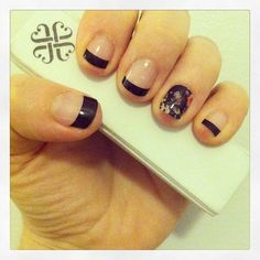 Jamberry Nail Wraps On Real Nails! Featured Nail : Black Tips & Reminisce   http://jaminkat.jamberrynails.net/