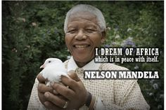 Nelson Mandela - visit to see all 45 images and quotes plus the video Nelson Mandela Quotes, Great Leaders, Beautiful Soul, Role Models, My Dream, Africa, Feelings, Reading, Peace Signs