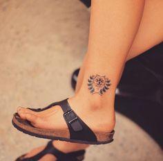 Pomeranian Tattoo on Ankle by Grain