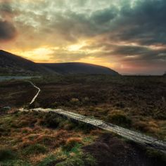 The Wicklow hills in Ireland have some spectacular places to hike and explore, and you are greeted with views like this. There was a light rain almost all day and then it cleared just in time for a beautiful sunset.