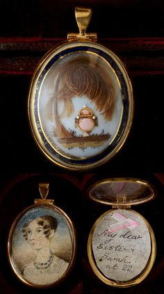 "Breaks your heart: Late 18th century hairwork mourning pendant with miniature. The hair makes the leaves of a willow tree, overhanging an urn. The inscription says ""my dear sister Sarah at 22""; one can only assume that Sarah is gone."