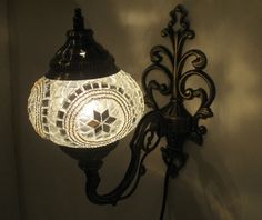 White mosaic glass sconce lamp wall lamp lampe by meryemart Turkish Lights, Outdoor Lamps, Moroccan Lanterns, Mosaic Glass, Lamp Light, Wall Sconces, Wall Lights, Candles, Electric