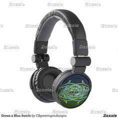 Green n Blue Swirls Headphones