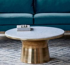 Marble Topped Pedestal Coffee Table Antique Br At West Elm Tables Accent Living Room