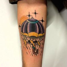 Rainy Umbrella Storm by Pinut Traditional Tattooing   Click Here to See More TATTOOS like this.. TATTOOS.ORG