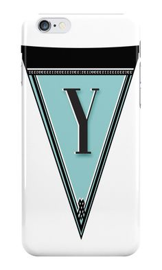 Manhattan 1920s Deco Blues Banner Monogrammed iPhone (and Samsung Galaxy Phone) Cases (letter initial Y shown here)  by Cecely Bloom
