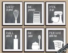 Funny Kitchen Art Print Set Measuring Cup by KITCHENBATHPRINTS