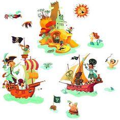 Walls Treasure - Djeco - Pack of 26 wall stickers with pirate theme Les Stickers, Wall Stickers, Pirate Theme, Treasure Island, Kids Bedroom, Little Ones, Playroom, Illustration, Pikachu