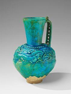 An Iranian fritware jug, Late - early century - Alain. Islamic Art Pattern, Pattern Art, Ceramic Painting, Ceramic Art, Iranian, Cool Artwork, Art And Architecture, Decoration, Turquoise