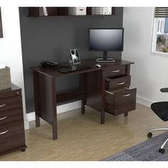 Inval America Espresso Curved Top Writing Desk | Overstock.com Shopping - The Best Deals on Desks