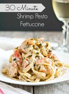 Creamy Shrimp Pesto Pasta from NeighborFoodBlog.com Creamy Pesto Pasta, Pesto Pasta Recipes, Seafood Recipes, Fish Recipes, Creme Fraiche, Healthy Dinner Recipes, Cooking Recipes, What's Cooking, Seafood Dinner