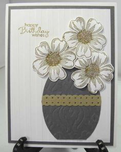 Flower Shop VAse is embossed and cut with oval punch.