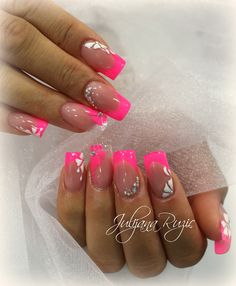 ideas nails art rose fluo for 2019 Cute Acrylic Nail Designs, Short Nail Designs, Cute Acrylic Nails, Nail Polish Designs, Cool Nail Designs, Cute Nails, Nails Design, Pink Tip Nails, Neon Nails