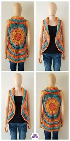 Sunset Mandala Circular Vest Free Crochet Pattern Sunset Mandala Circular Vest Free Crochet Pattern Always aspired to discover ways to knit, yet undecided where to begin? Crochet Circle Vest, Crochet Shrug Pattern, Crochet Circles, Crochet Jacket, Crochet Cardigan, Crochet Yarn, Free Crochet, Crochet Patterns, Sweater Design Patterns