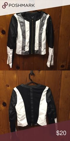 Stripped Pleather Motorcycle Jacket In Great Condition/ Small in Juniors sizing Jackets & Coats Utility Jackets
