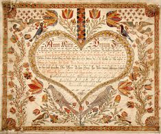 Antique Fraktur... with Heart ,Flowers,Vines, and Birds.