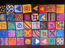 16 DECORATIVE HAND PAINTED MOSAIC TILES VARIOUS DESIGNS FOR CRAFT PROJECST