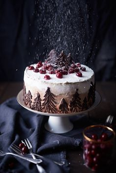 The other variant of the popular black forest cherry cake. - The other variant of the popular black forest cherry cake. Suitable for the winter time, gingerbread - Christmas Desserts, Christmas Baking, Christmas Recipes, Christmas Cakes, Holiday Recipes, Food Cakes, Cupcake Cakes, Black Forest Cherry Cake, Winter Torte