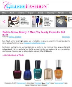 College Fashion's Must-Try Beauty Trends for Fall featuring Zoya Frida!