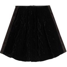 Fendi Velvet Skirt ($1,320) ❤ liked on Polyvore featuring skirts, black, fendi, fendi skirt, cut out skirt, velvet skirt and panel skirt
